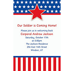Red, White & Blue Stars Welcome Home Custom Invitation