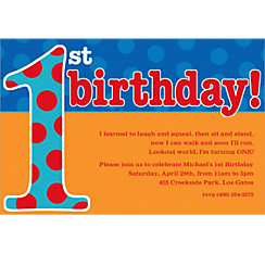 Big 1st Birthday Blue Custom Invitation