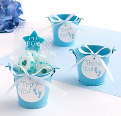 Blue Baby Shower Mini Pail Favor Kit 18ct