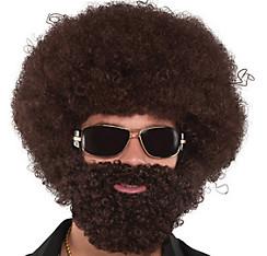 Brown Afro Facial Hair Set