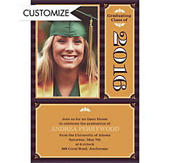 Custom Classic Block Image with Year Graduation Photo Invitations