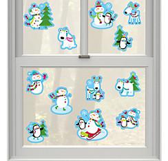 Joyful Snowman Vinyl Window Decorations 12ct