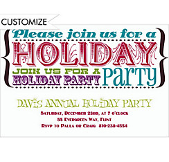 Holiday Party Text Custom Christmas Invitation