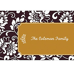 Black & Gold Damask Border Custom Christmas Thank You Note