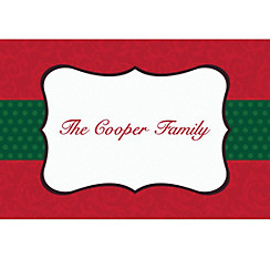 Stylish Damask Border Custom Christmas Thank You Note