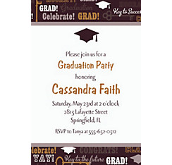 Custom Key To Success Graduation Invitations