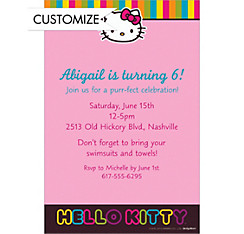 Neon Hello Kitty Custom Invitation