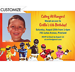 Power Rangers Megaforce Custom Photo Invitation