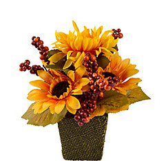 Sunflower in Burlap Pot