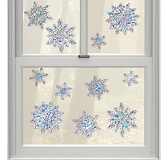 Jewel Snowflake Cling Decals 11ct