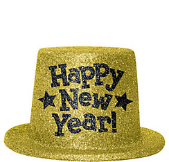 Gold Glitter New Year's Top Hat