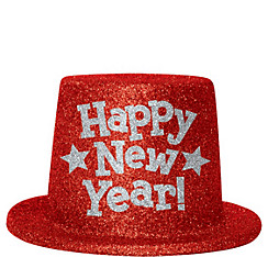 Red Glitter New Year's Top Hat