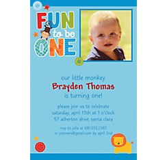 One Wild Boy Custom Photo Invitation