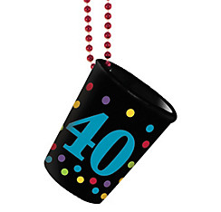 40th Birthday Shot Glass Bead Necklace