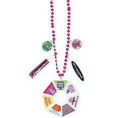 Pink Over the Hill Plastic Survival Bead Necklace