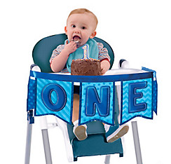 Deluxe Blue 1st Birthday High Chair Banner