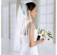 White Single Layer Wedding Veil