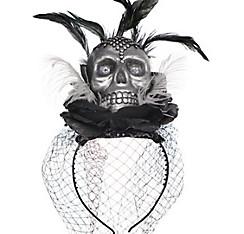 Skull Veil Headband Couture - Black & Bone