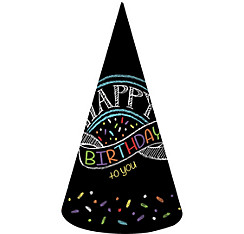 Chalkboard Birthday Party Hats 8ct