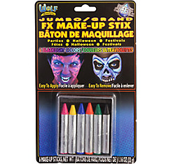 Jumbo Blacklight Neon Face Paint Crayons 6ct