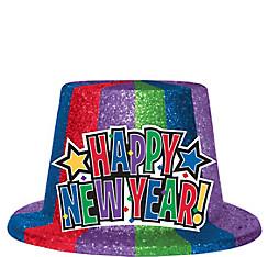 Glitter Rainbow Happy New Year Top Hat