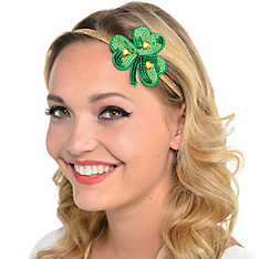 Sequin Shamrock Elastic Headband