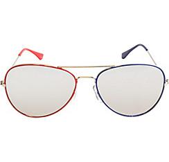 Red & Blue Mirrored Aviator Sunglasses