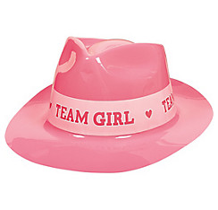 Team Girl Plastic Fedora - Girl or Boy Gender Reveal