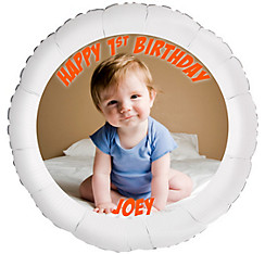 Custom Baby Boy Birthday Photo Balloon