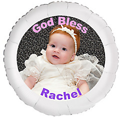 Custom Girl Baptism Photo Balloon