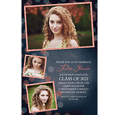 Custom Glitter Salmon Frames and Dots Graduation Photo Invitation