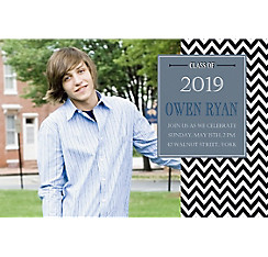 Custom Chevron and Matte Silver Photo Invitation
