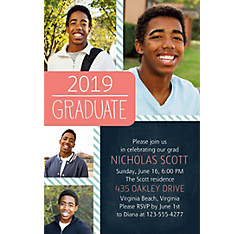 Custom Salmon & Teal Stripes Graduation Collage Photo Invitation