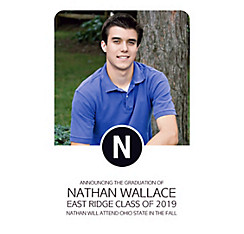 Custom White Block Initial Graduation Photo Announcement