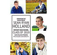 Custom Classic White Collage Graduation Photo Announcement