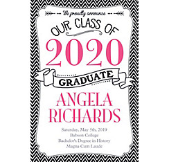 Custom Black & White Chevron Graduation Announcement