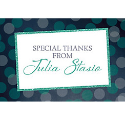 Custom Glitter Mint Frames and Dots Graduation Thank You Note