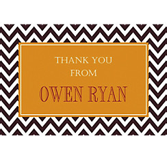 Custom Chevron and Matte Gold Thank You Note