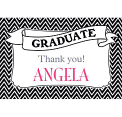 Custom Black & White Chevron Graduation Thank You Note