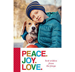 Custom Colorful Peace Joy Love Photo Card