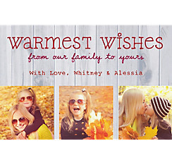 Custom Birch Warmest Wishes Collage Photo Card