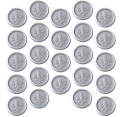 Silver Fleur-de-Lis Wax Envelope Seals 24ct