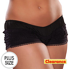 Adult Black Ruffled Boyshorts Plus Size