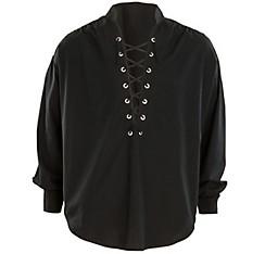 Black Lace-Up Pirate Shirt