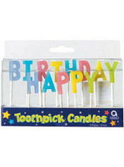 Happy Birthday Pastel Toothpick Candles 13ct