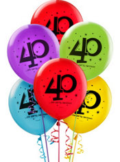 40th Birthday balloons 15ct - The Party Continues