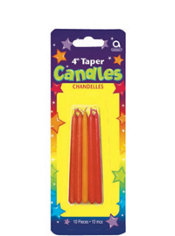 Orange and Red Mini Taper Birthday Candles 4in 10ct