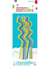 Tall Multicolor Bright Coil Birthday Candles 12ct