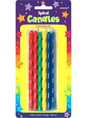 Primary Spiral Birthday Candles 5in 12ct