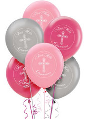 Print Pink Communion Latex Balloons 15ct
